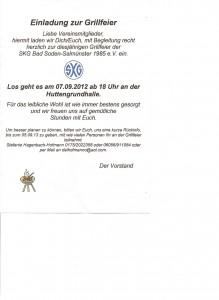 Einladung Grillfeier